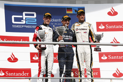 Podium: race winner Mitch Evans, second place Stoffel Vandoorne, third place Jolyon Palmer