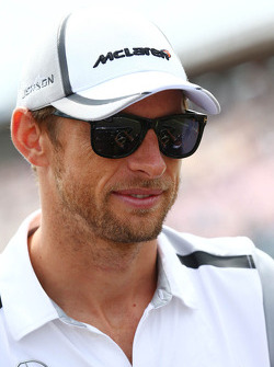F1: Jenson Button, McLaren on the drivers parade