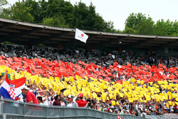 Fans make the German flag in the grandstand