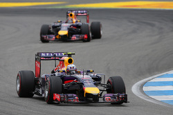 F1: Daniel Ricciardo, Red Bull Racing RB10 leads team mate Sebastian Vettel, Red Bull Racing RB10