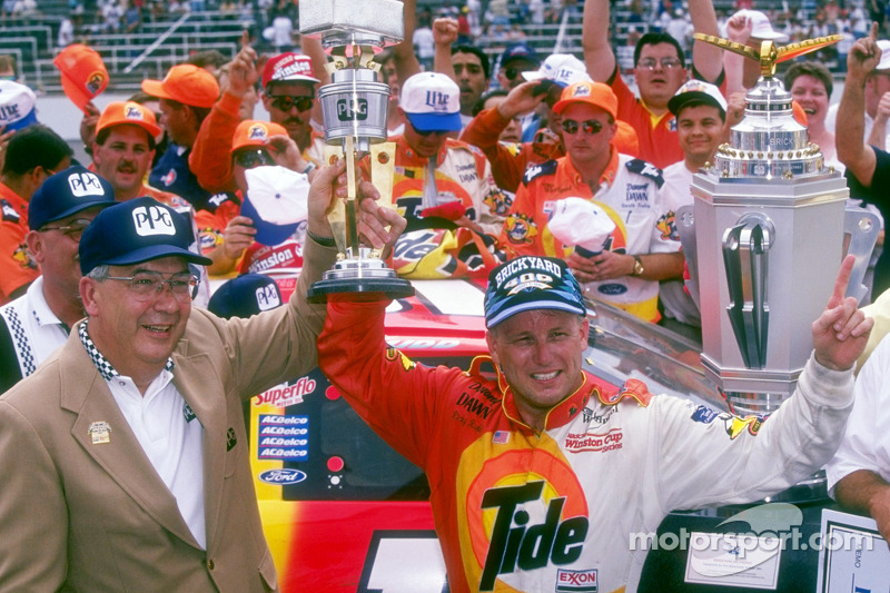 Race winner Ricky Rudd celebrates