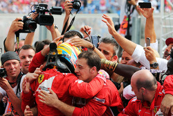 F1: Fernando Alonso, Ferrari celebrates his second position in parc ferme