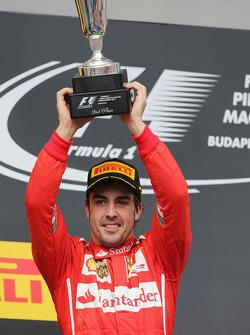 F1: Fernando Alonso, Ferrari celebrates his second position on the podium