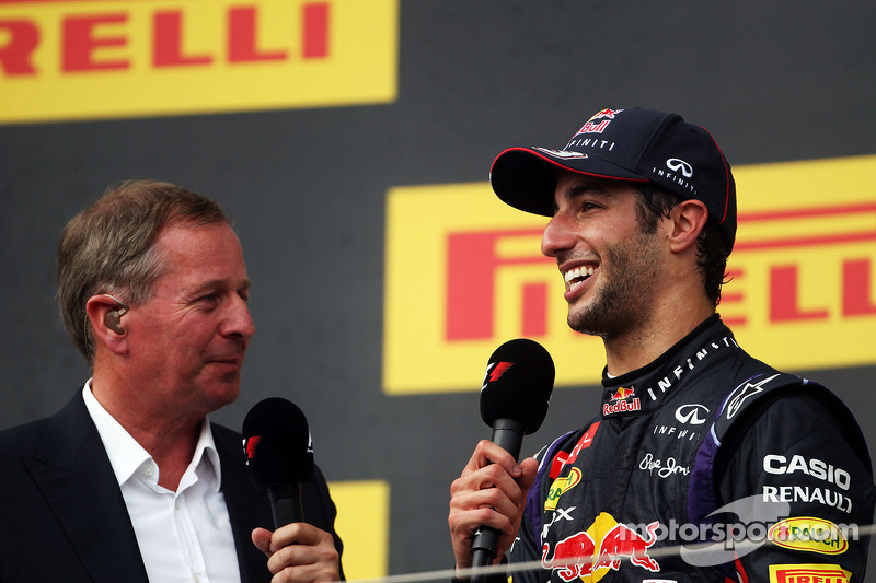 Daniel Ricciardo, Red Bull Racing on the podium with Martin Brundle, Sky Sports Commentator