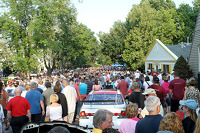The crowded streets of Elkhart Lake during the Concours