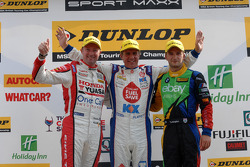 Race winner Jason Plato, second place Colin Turkington, third place Gordon Shedden