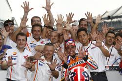 Race winner Marc Marquez, Repsol Honda Team celebrates 10 victories in a row