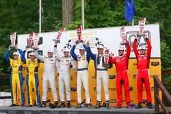 Class winners podium: GTD winners Dane Cameron, Markus Palttala, PC winners Mirco Schultis, Renger van der Zande, P winners Joao Barbosa, Christian Fittipaldi, GTLM winners Pierre Kaffer, Giancarlo Fisichella