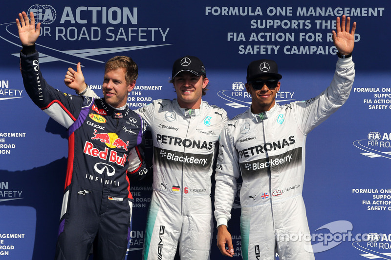 Sebastian Vettel, Red Bull Racing, Nico Rosberg, Mercedes AMG F1 Team and Lewis Hamilton, Mercedes AMG F1 Team