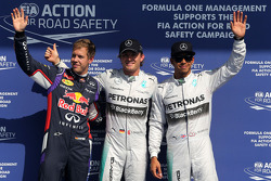 F1: Sebastian Vettel, Red Bull Racing, Nico Rosberg, Mercedes AMG F1 Team and Lewis Hamilton, Mercedes AMG F1 Team