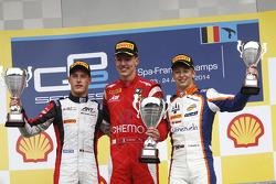 GP2: Podium: race winner Raffaele Marciello, second place Stoffel Vandoorne, third place Johnny Cecotto