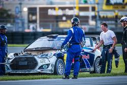 #67 Hyundai / Rhys Millen Racing Hyundai Veloster: Rhys Millen stopped after a fire