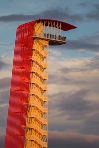 Circuit of the Americas tower as the sun sets on Friday