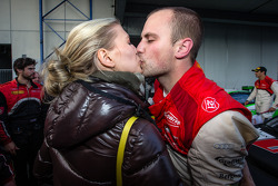 Race winner and Blancpain Endurance Series champion Laurens Vanthoor celebrates with his girlfriend