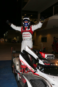 Race winner Marcel Fässler celebrates
