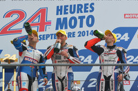 Podium: race winners Vincent Philippe, Anthony Delhalle, Erwan Nigon