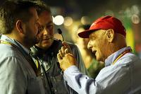Paul Hembery, Pirelli Motorsport Director with Mario Isola, Pirelli Racing Manager and Niki Lauda, Mercedes Non-Executive Chairman