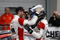 Race winners Kelvin van der Linde, Rene Rast
