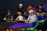 The FIA Press Conference: Nico Hulkenberg, Sahara Force India F1; Jules Bianchi, Marussia F1 Team; Romain Grosjean, Lotus F1 Team; Sebastian Vettel, Red Bull Racing; Kamui Kobayashi, Caterham; Jenson Button, McLaren
