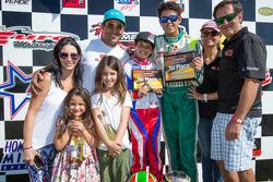 Juan Pablo Montoya with wife Connie Montoya, son Sebastian Montoya and Christian Munoz
