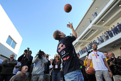 Sebastian Vettel, Red Bull Racing practices his basketball skills with Tony Parker, NBA Basketball Player