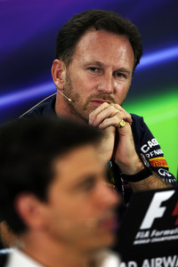 Christian Horner, Red Bull Racing Team Principal and Toto Wolff, Mercedes AMG F1 Shareholder and Executive Director in the FIA Press Conference
