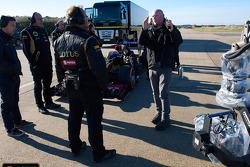 The Lotus F1 Team prepares for the stunt
