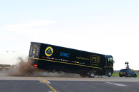 Stunt truck driver Mike Ryan jumps over stunt driver Martin Ivanov in record distance