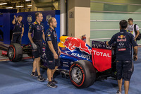 The Red Bull Racing RB10 of Sebastian Vettel, Red Bull Racing is sent to scrutineering