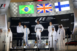 The podium: Felipe Massa, Williams, second; Lewis Hamilton, Mercedes AMG F1, race winner and World Champion; Valtteri Bottas, Williams, third