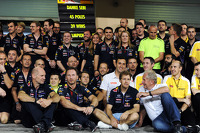 Red Bull Racing give thanks to the departing Sebastian Vettel, Red Bull Racing, with, Red Bull Racing Chief Technical Officer; Christian Horner, Red Bull Racing Team Principal and Dr Helmut Marko, Red Bull Motorsport Consultant