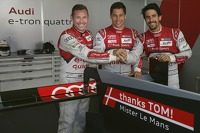 Tom Kristensen, Loic Duval, Lucas di Grassi with a special message to the retiring Kristensen