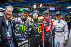 Monster Energy chairman and CEO Rodney Sacks, Ken Block, Valentino Rossi, Kurt Busch and Lewis Hamilton
