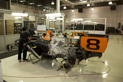 Various 8Star Motorsports cars in the team's workshops