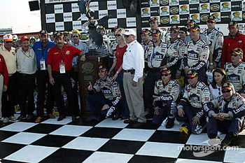 Victory lane: race winner Jimmie Johnson with his crew