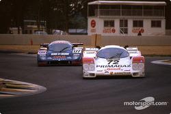 #72 Obermaier Racing Porsche 962C: Jürgen Lässig, Pierre Yver, Paul Belmondo, #177 Automobiles Louis Descartes ALD C289 Ford: Alain Serpaggi, Yves Hervalet, Louis Descartes