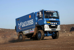 Team de Rooy presentation: Hugo Duisters, Yvo Geusens and Mohamed El Bouzidi test the service truck DAF CF75 FAV4x4