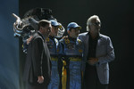 Patrick Faure, Fernando Alonso, Giancarlo Fisichella and Flavio Briatore