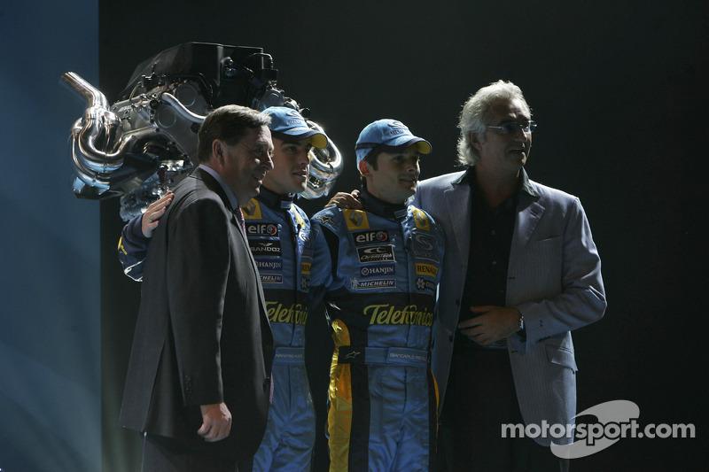 Patrick Faure, Fernando Alonso, Giancarlo Fisichella and Flavio Briatore