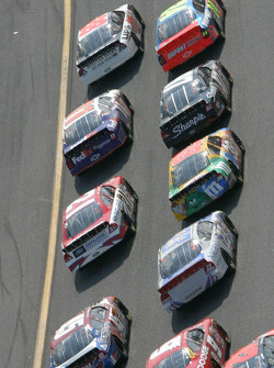 Dale Jarrett and Jeff Gordon lead the field