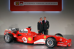 Rubens Barrichello and Michael Schumacher with the new Ferrrari F2005