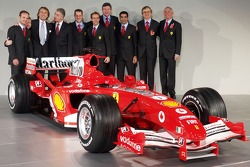 Rubens Barrichello, Michael Schumacher, Marc Gene and Luca Badoer with the new Ferrrari F2005