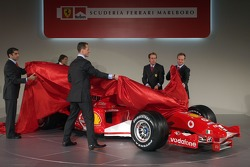 Michael Schumacher, Rubens Barrichello, Luca Badoer and Marc Gene present the new Ferrrari F2005