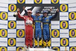 Podium: race winner Giancarlo Fisichella with Rubens Barrichello and Fernando Alonso