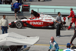 Chip Ganassi Racing crew members push the car to grid