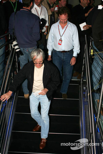 Bernie Ecclestone visits the Red Bull Racing hospitality area