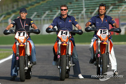 Christian Klien, David Coulthard and Vitantonio Liuzzi on their motorbikes
