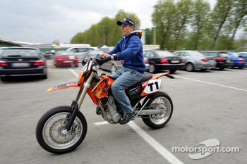 Christian Klien has fun with his motorbike