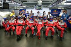 Audi Sport Team Abt team members wait for next pitstop