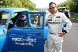 Mercedes-Benz on the Nordschleife photoshoot: Juan Pablo Montoya and a vintage Mercedes-Benz transporter